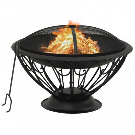Vatră de foc cu vătrai, 75 cm, oțel, XXL