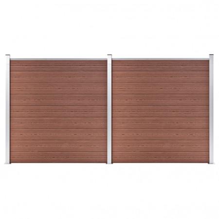Gard de grădină, maro, 353 x 186 cm, WPC