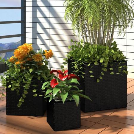 Jardiniere de grădină, 3 buc., negru, poliratan