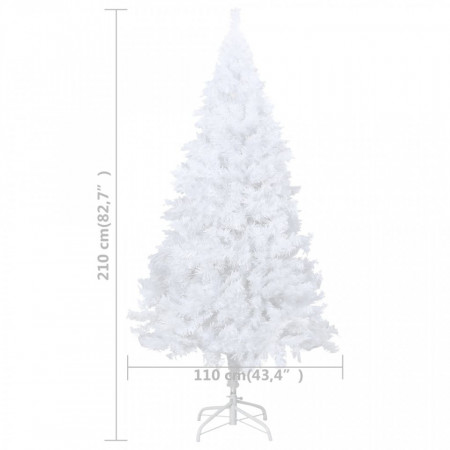 Pom de Crăciun artificial cu ramuri groase, alb, 210 cm, PVC