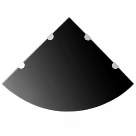 Rafturi de colț cu suporturi crom 2 buc. negru 45x45 cm sticlă
