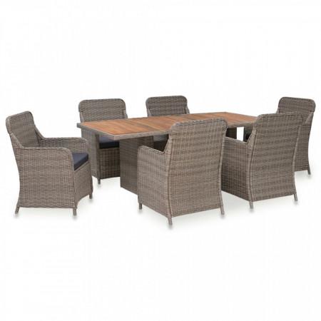 Set mobilier de exterior cu perne, 7 piese, maro, poliratan