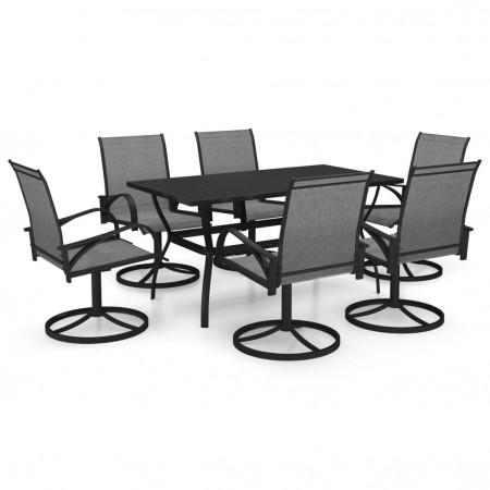 Set mobilier de grădină, 7 piese, textilenă și oțel
