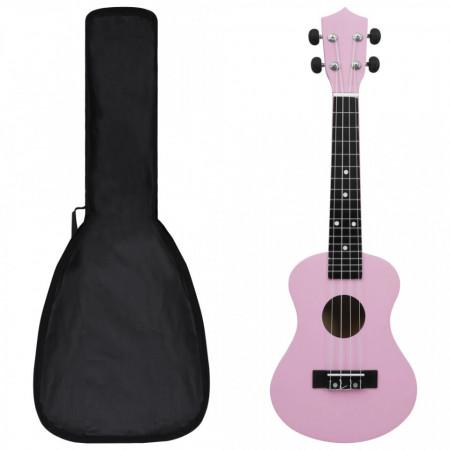 """Set ukulele Soprano pentru copii, cu husă, roz, 21"""""""