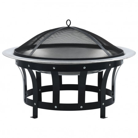 Vatră de foc de exterior cu grătar, 76 cm, oțel inoxidabil