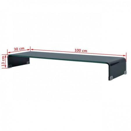 Comodă TV/Suport monitor din sticlă, 100 x 30 x 13 cm, negru