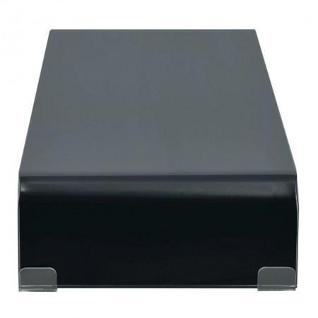 Comodă TV/Suport monitor sticlă, 90 x 30 x 13 cm, negru