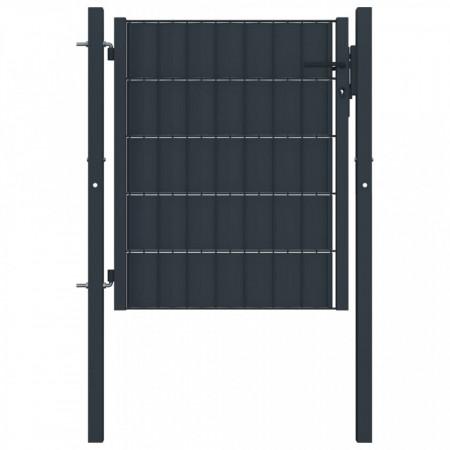 Poartă de gard, antracit, 100 x 81 cm, oțel