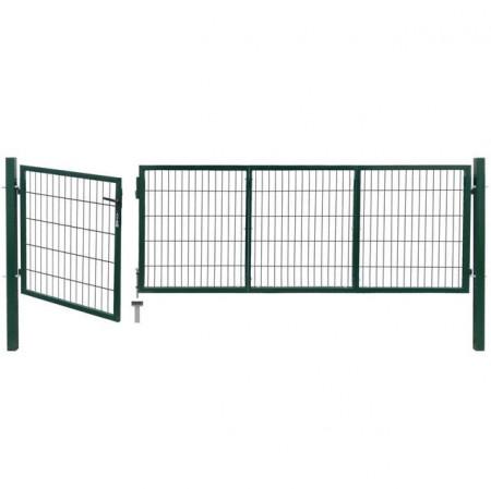 Poartă gard de grădină cu stâlpi, 350 x 100 cm, oțel, verde