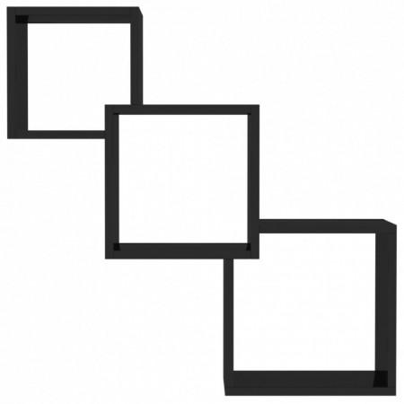Rafturi de perete, cub, negru lucios, 84,5 x 15 x 27 cm, PAL