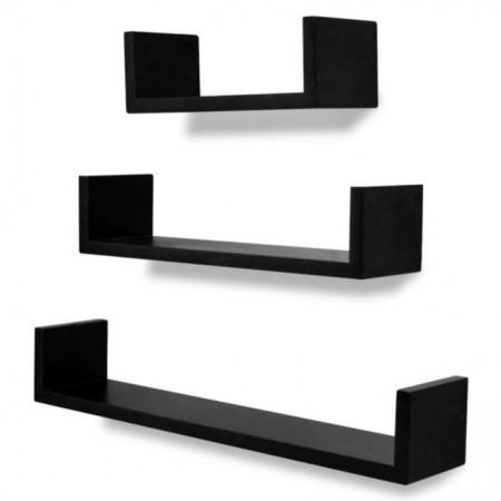 Rafturi U suspendate bibliotecă spațiu depozitare DVD din MDF, negru