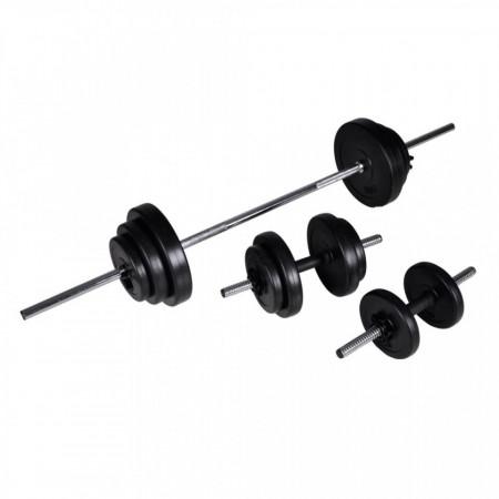 Set cu halteră și 2 gantere 30,5 kg