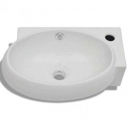 Chiuvetă de baie din ceramică, montare pe colț, alb