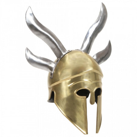 Coif războinic grec aspect antic, joc de rol, alamă, oțel
