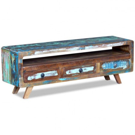 Comodă TV cu 3 sertare din lemn reciclat de esență tare