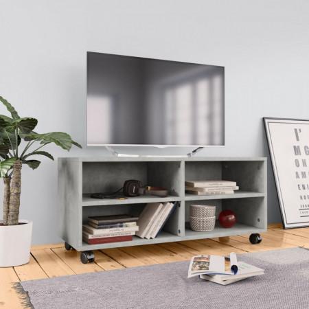 Comodă TV cu rotile, gri beton, 90x35x35, PAL