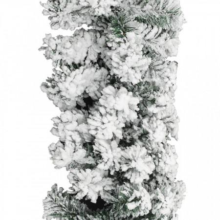 Ghirlandă de Crăciun cu zăpadă, verde, 20 m, PVC