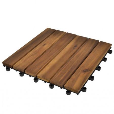 Set dale din lemn de salcâm cu model vertical 30 x 30 cm, 20 buc.