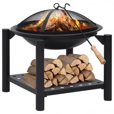 Vatră de foc cu vătrai, 54x54x55 cm oțel