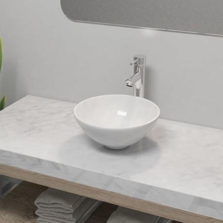 Chiuvetă de baie cu robinet mixer, ceramică, rotund, alb
