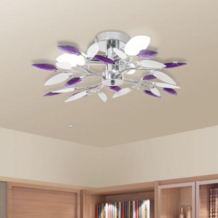 Lustră cristale acrilice formă de frunze albe și violet pt becuri E14