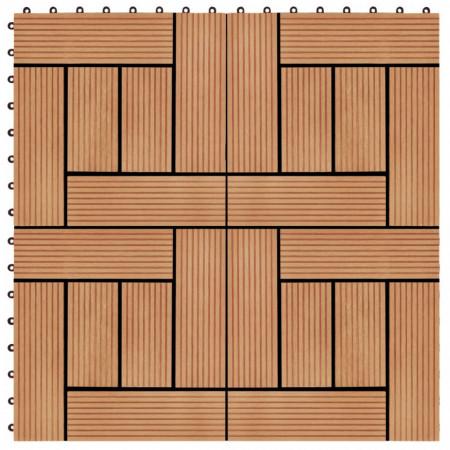 Plăci de pardoseală, 22 buc., culoare tec, 30x30 cm, WPC, 2 mp