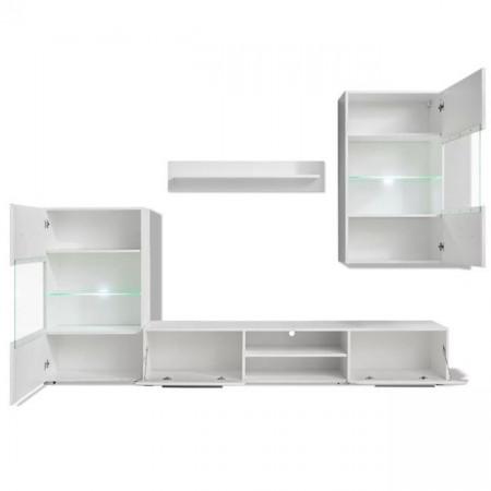Set mobilier comodă TV de perete, 5 piese, iluminare LED, alb