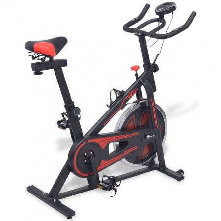 Bicicleta fitness, centrifuga cu senzor puls, negru și rosu