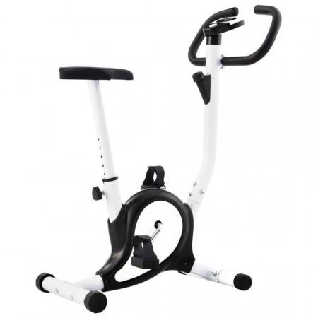 Bicicletă fitness cu centură de rezistență, negru