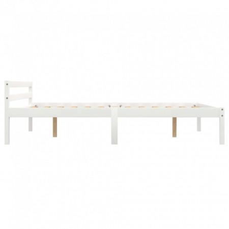Cadru de pat, alb, 140 x 200 cm, lemn masiv de pin