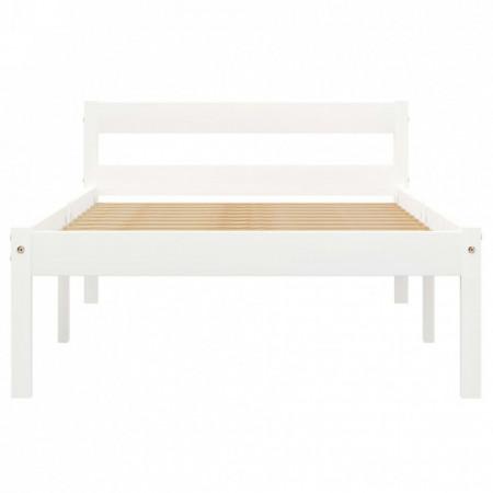 Cadru de pat, alb, 90 x 200 cm, lemn masiv de pin