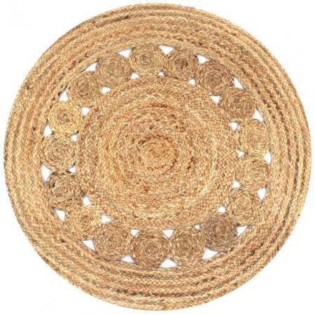 Covor din iută cu design împletit, 90 cm rotund