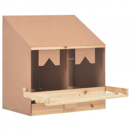 Cuibar găini cu 2 compartimente, 63x40x65 cm, lemn masiv pin