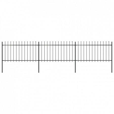 Gard de grădină cu vârf suliță, negru, 5,1 x 1 m, oțel