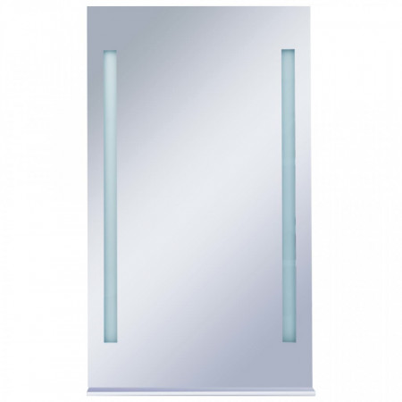 Oglindă cu LED de perete pentru baie cu raft, 60 x 100 cm