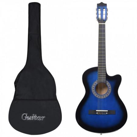 """Set chitară acustică occidentală 12 piese 6 corzi albastru 38"""""""