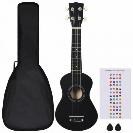 """Set ukulele soprano, cu husă, pentru copii, negru, 21"""""""