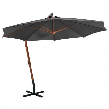 Umbrelă suspendată cu stâlp, antracit, 3,5x2,9 m, lemn brad