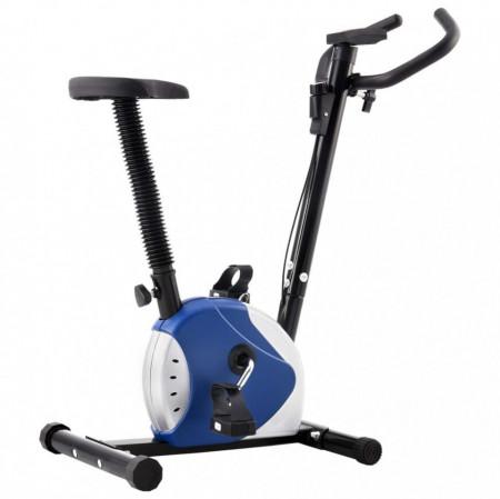 Bicicletă de fitness cu curea de rezistență, albastru