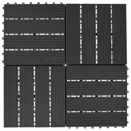 Plăci de pardoseală 11 buc, negru, 30 x 30 cm ,WPC, 1 mp
