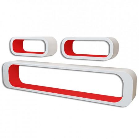 Rafturi cub de perete, 6 buc., roșu și alb