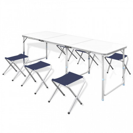 Set camping masă reglabilă și 6 scaune 180 x 60 cm