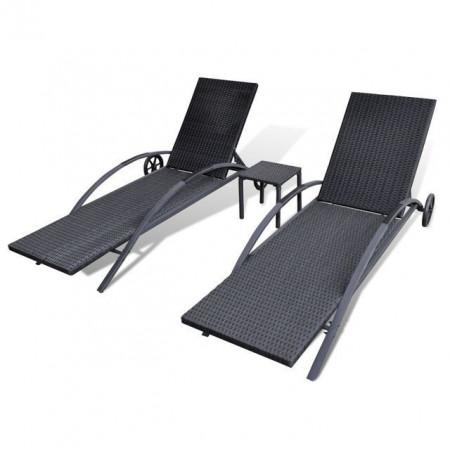 Șezlonguri de plajă cu masă, negru, poliratan