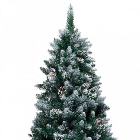 Brad de Crăciun artificial cu conuri și zăpadă albă, 150 cm