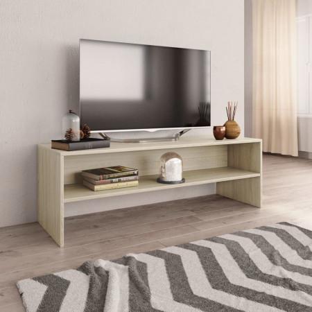 Comodă TV, alb și stejar sonoma, 120 x 40 x 40 cm, PAL