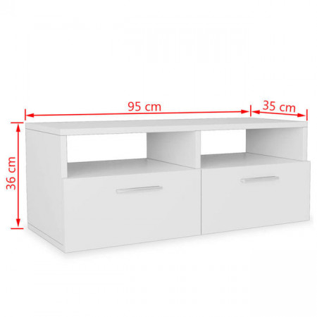 Comode TV 2 buc, PAL, 95 x 35 x 36 cm, alb