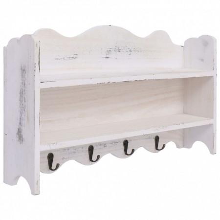 Cuier de perete, alb, 50 x 10 x 30 cm, lemn