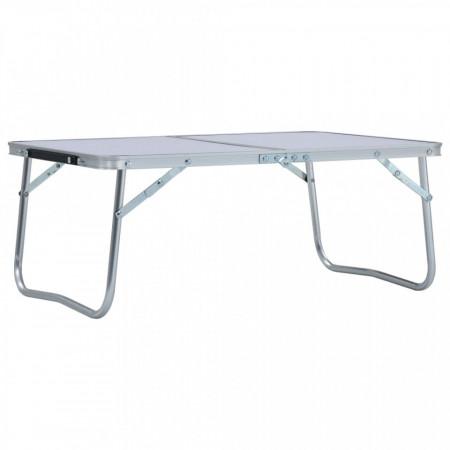 Masă de camping pliabilă, alb, 60 x 40 cm, aluminiu