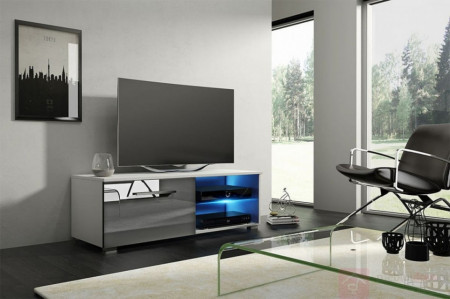 Moon 100 (Tv Stand + Led) White/Grey High Gloss