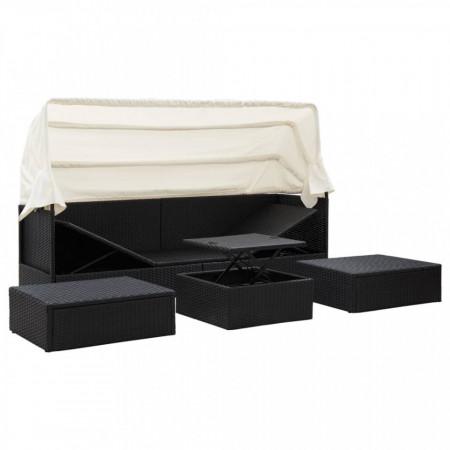 Pat de grădină cu acoperiș, negru, 200x60x124 cm, poliratan